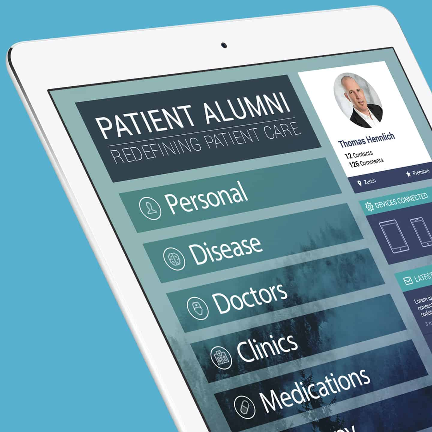 PATIENT ALUMNI app design